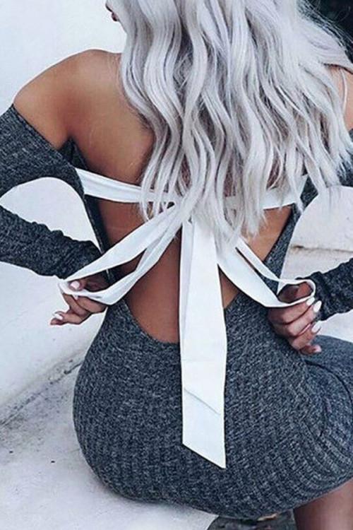 Tie Back Backless Stretchy Dress