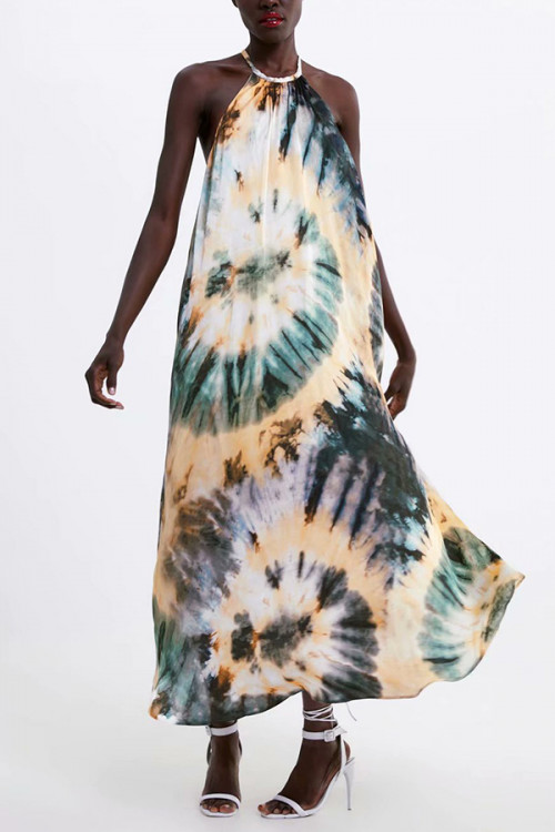 Tie Dye Halter Maxi Dress