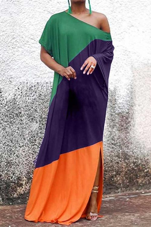Tri-color Patchwork Slit Dress