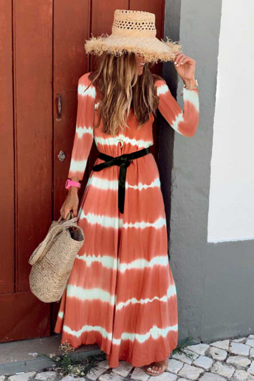 Two-tone Striped Maxi Dress
