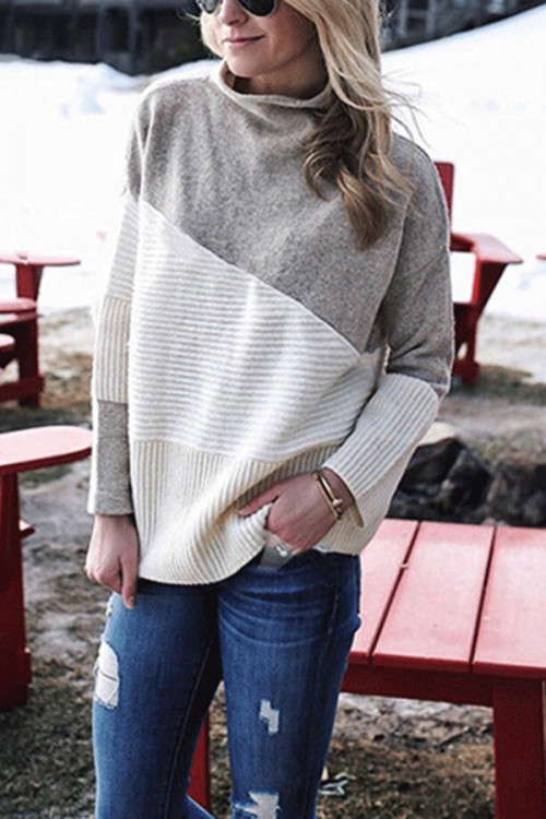 Two-tone Turtleneck Sweater