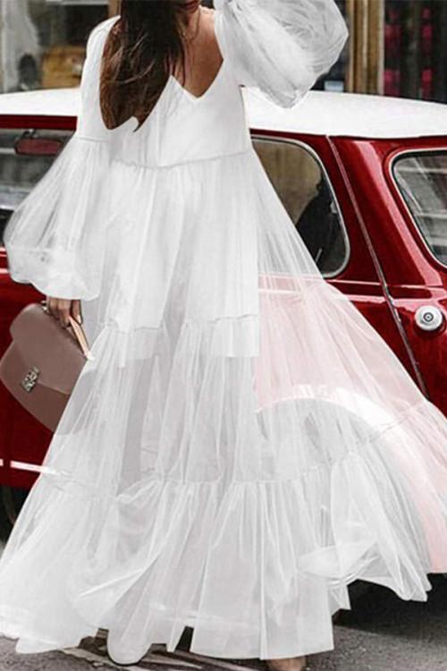 V-neck Bubble Sleeve Mesh Dress