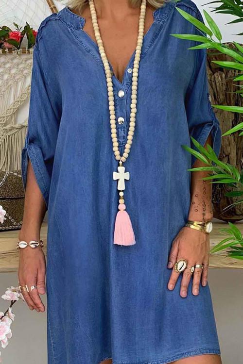 V-neck Button Denim Dress