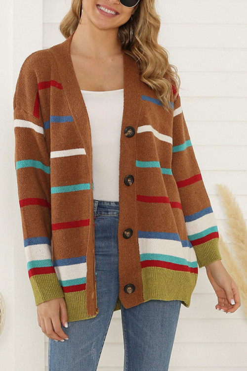 V-neck   Buttons Sweater Cardigan