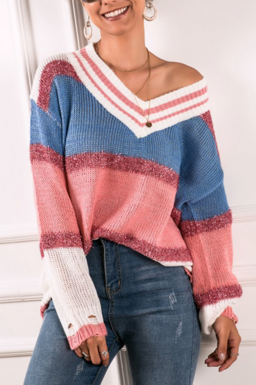 V-neck Color Block Sweater