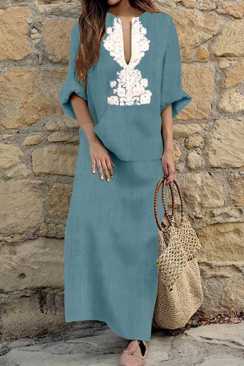 V-neck Cotton Printed Overlay Dress