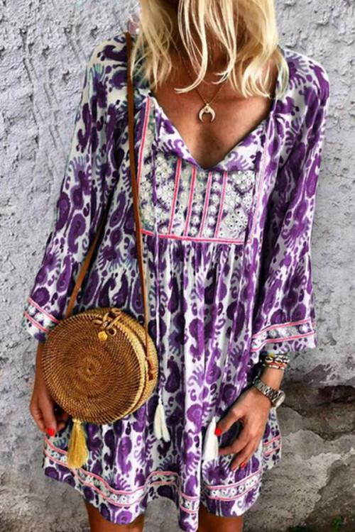 V-neck Drawstring Printed Dress
