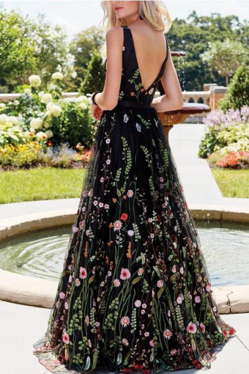 V-neck Embroidered Long Dress