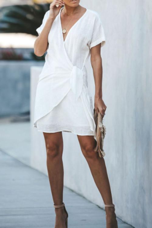 V-neck Lace-up Solid Dress