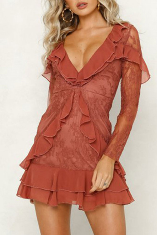 V-Neck Lace Flounce Dress