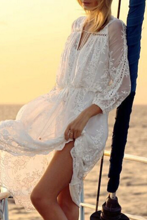 V-Neck Lace Flounce Dress