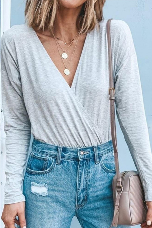 V-neck Long Sleeve Bodysuit