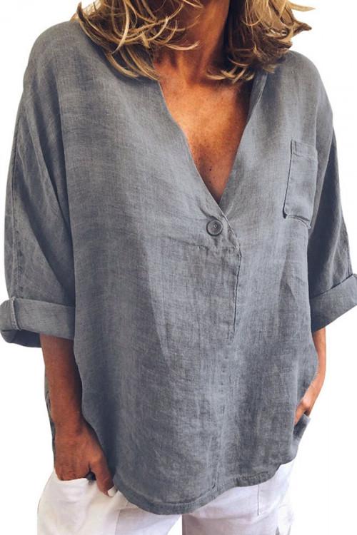 V-neck One Button Pocket Blouse