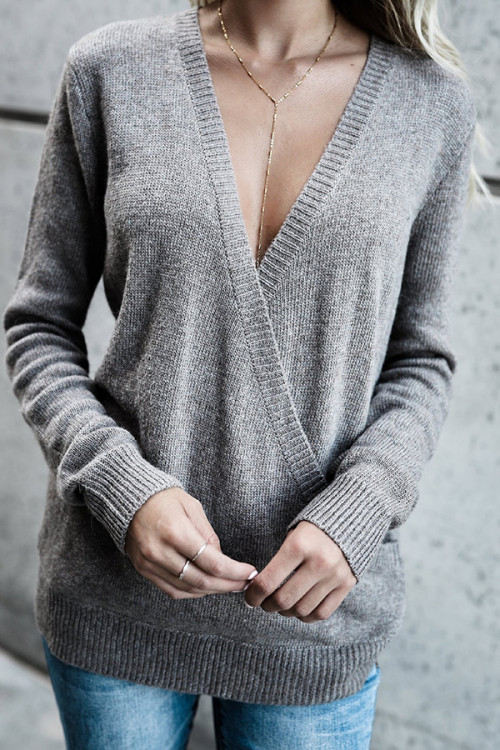 V-neck Rabbit Wool Cross Sweater