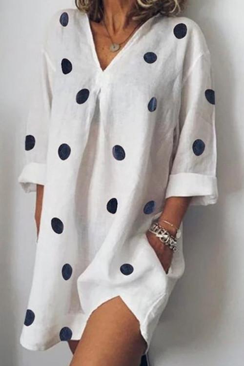 V-neck Round Dot Slit Shirt Dress