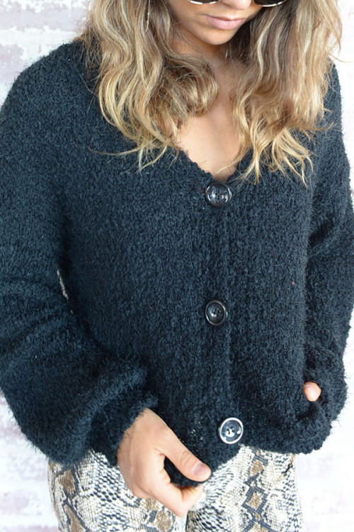 V-neck   Single  Breasted  Cardigan