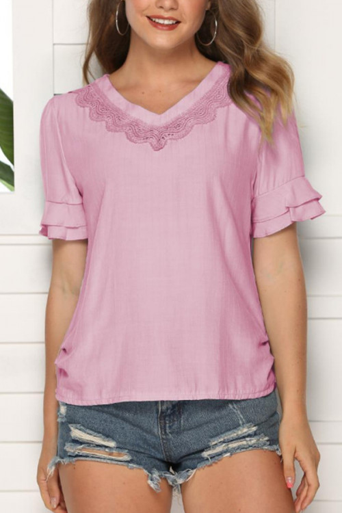 V-Neck Solid Pullover Blouse