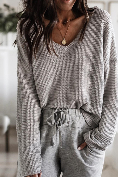 V-neck Solid Sweater