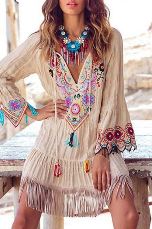 V-neck Tassel Embroidered Dress