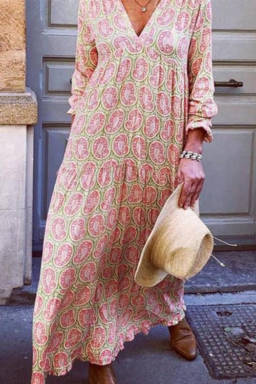 V Neck Printed Maxi Dress