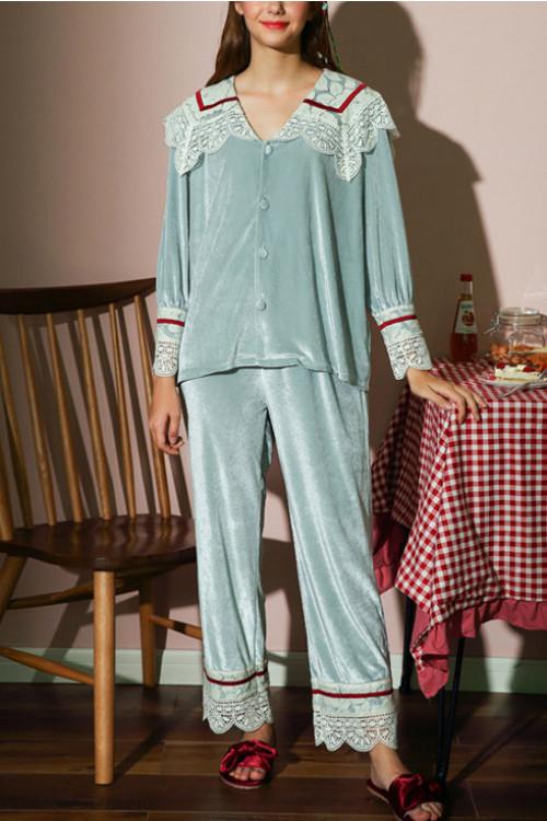 Velvet Pajama Pants Set