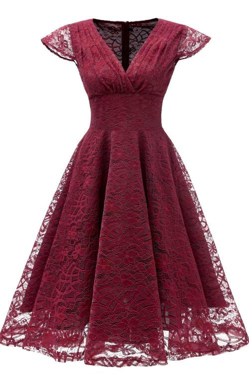 Vintage V-neck Homecoming Dress