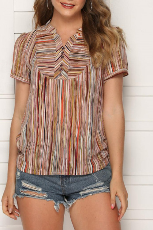 Vintage Color-block Striped Top