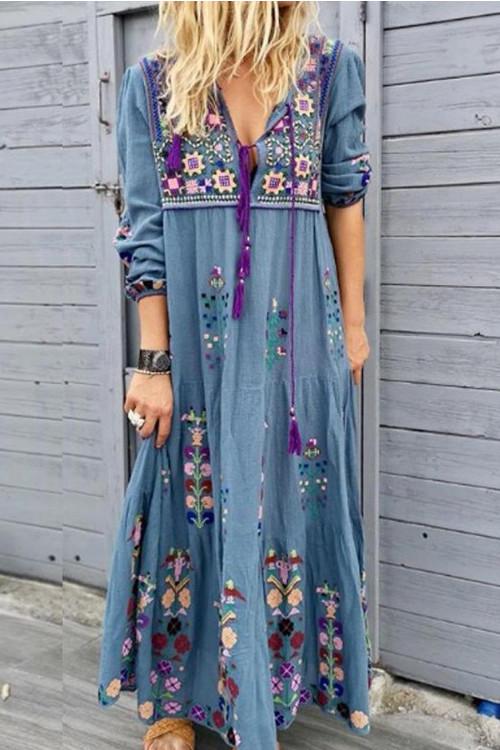 Vintage Tassel Embroidery Dress