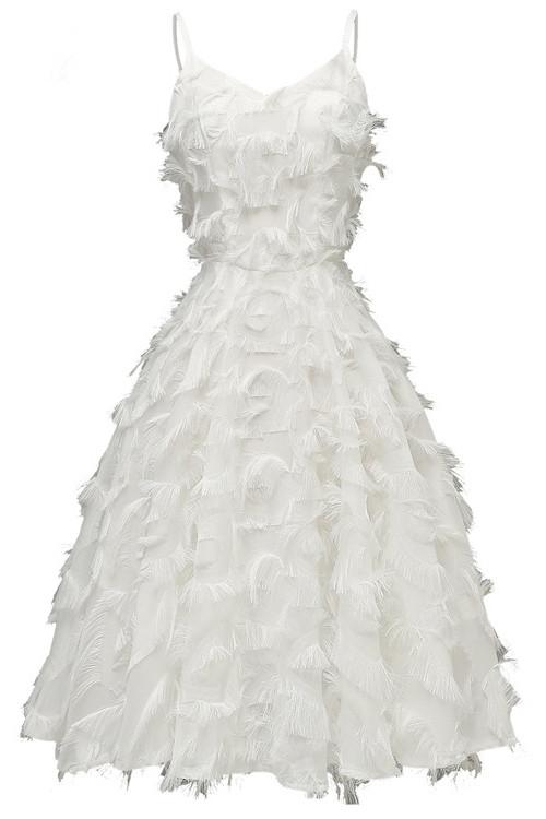 Ruffle Tasseled V-neck A-line Dress