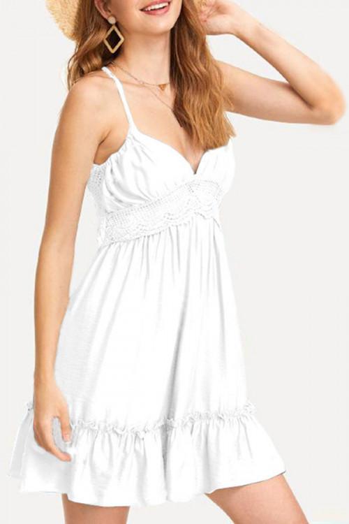 White Backless Ruffle Dress