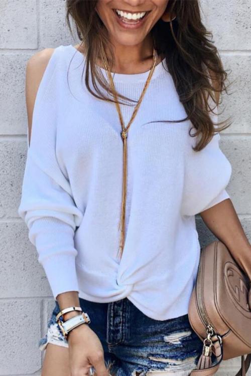 White Cutout Sleeve Sweater