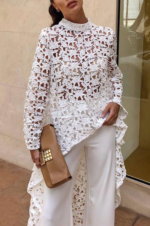 White Hollow Lace Dress