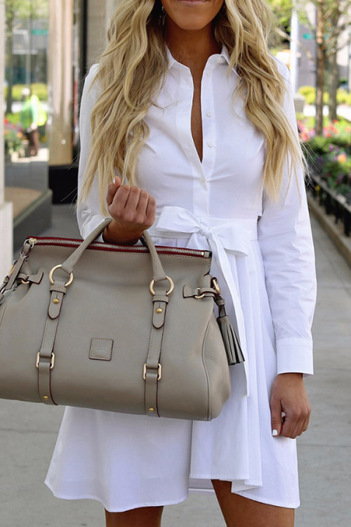 White Lapel Lace-up Shirt Dress