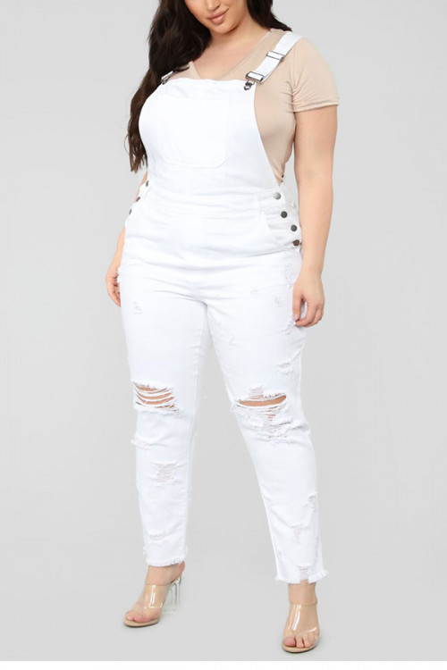 White Plus Size Ripped Overalls