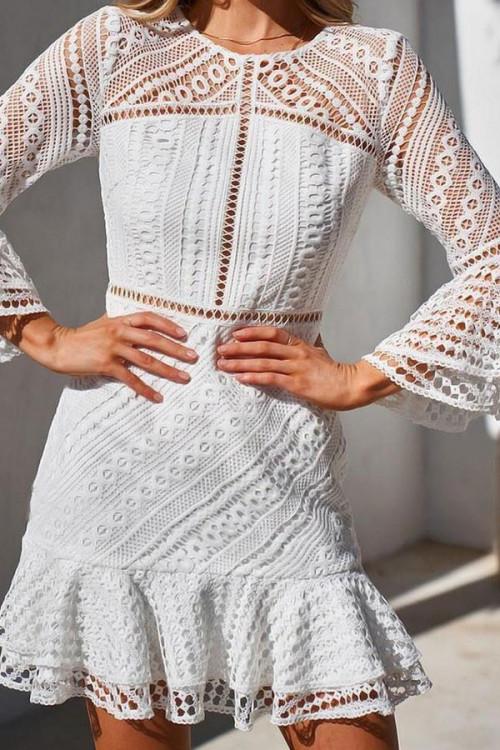 White Ruffled Cutout Lace Dress