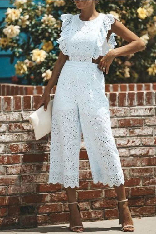 White Scoop Crop Jumpsuit