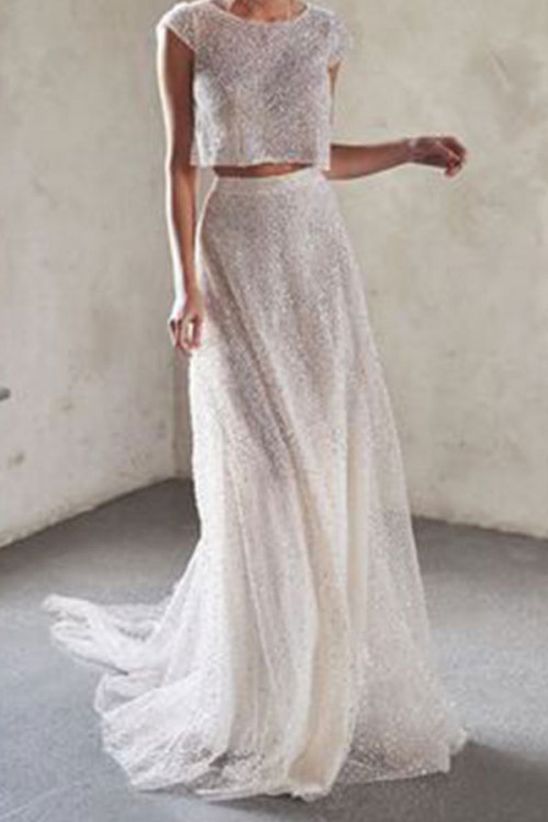 White Sequin Two-piece Dress