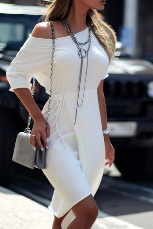 White Sloping Shoulder Lace-up Dress