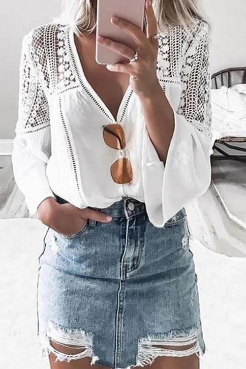 White V-neck Lace Panel Blouse