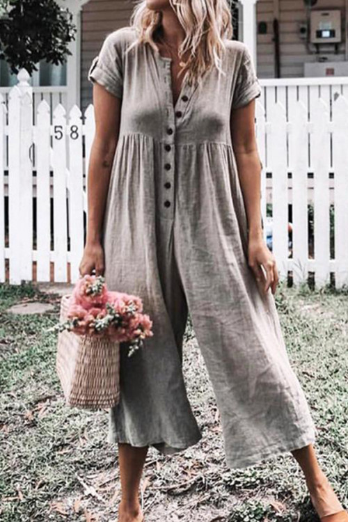 Wide-leg Buttons Jumpsuits