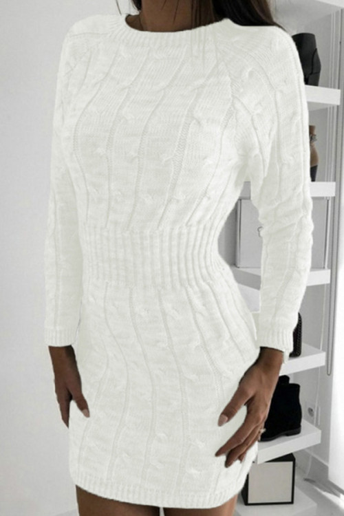 Wrap Hip Twist Sweater Dress
