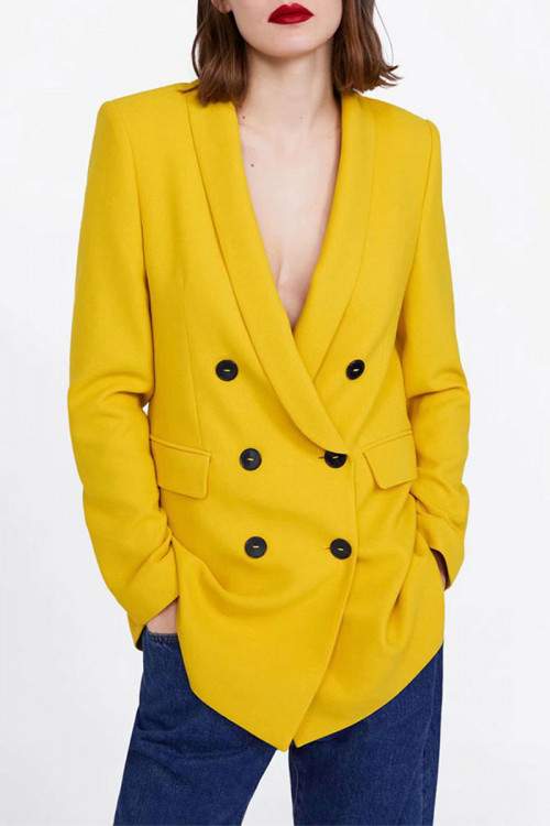 Yellow Double Breasted Blazer