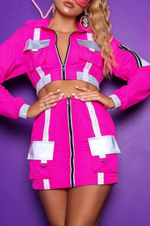 Zip Front Mini Skirt Set