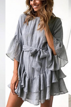 Ruffle Layered Hem Dress