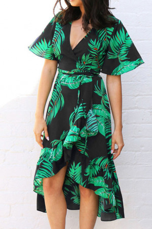 Print Ruffles V-Neck Dress
