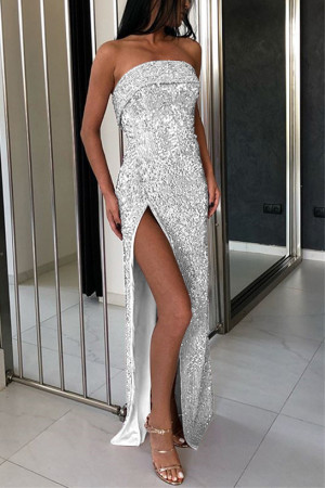 Split Thigh Sequin Prom Dress