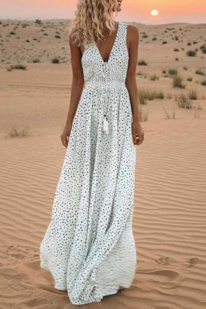 Polka Dot Print Beach Dress