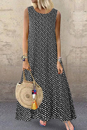 Polka Dot Sleeveless Tunic Dress