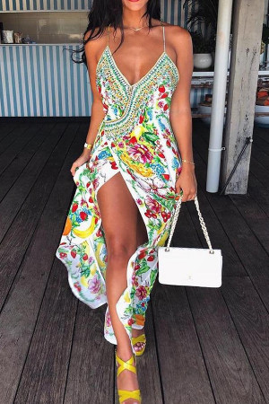 Ethnic Printed V-neck Slit Long Dress