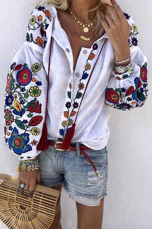 Vintage Floral Buttons Blouse